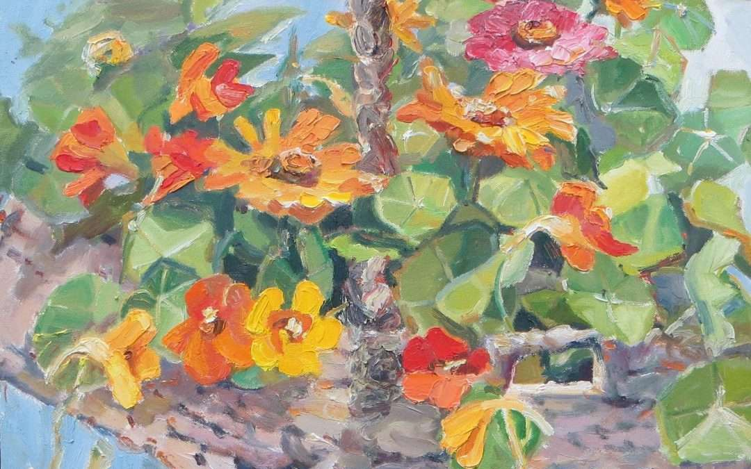 Nasturtium and zinnias in an old hanging basket Oil by Blanche Serban