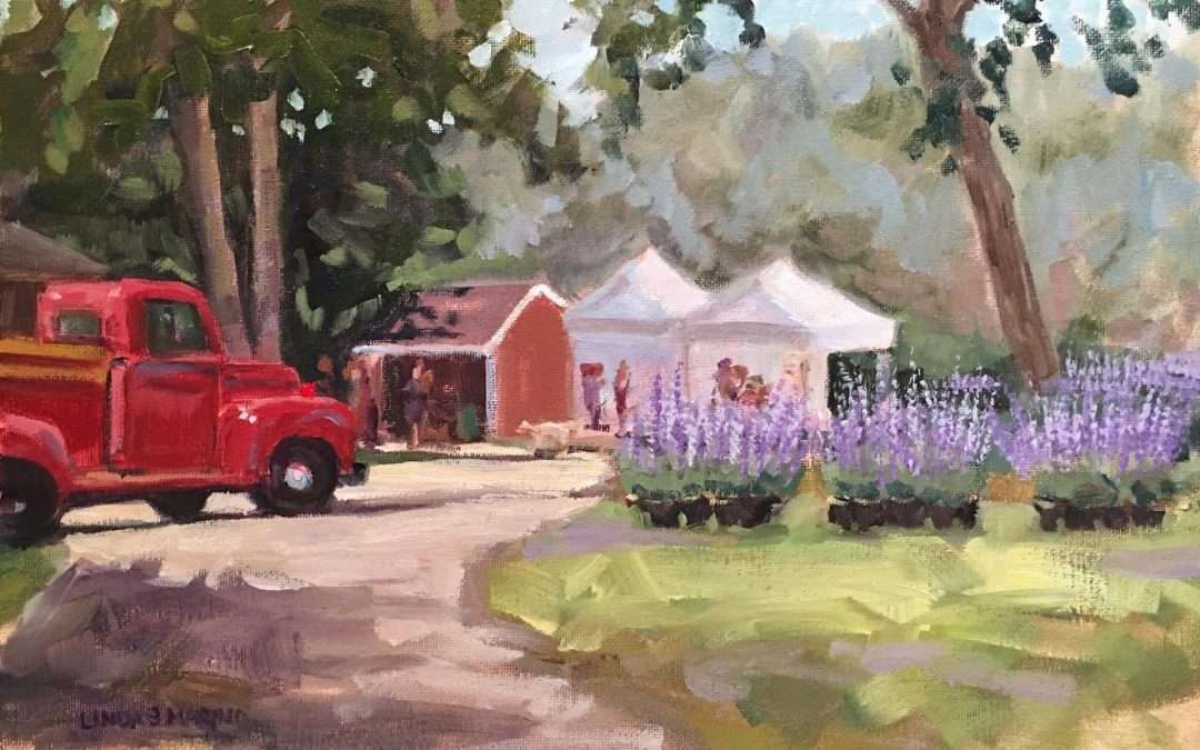 Red truck with tents and potted lavender plants Oil by Linda Marino