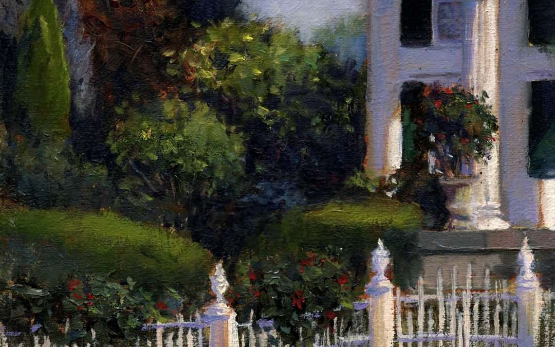 The beautifully landscaped garden of a classic Southport home. Oil by Tony Damico