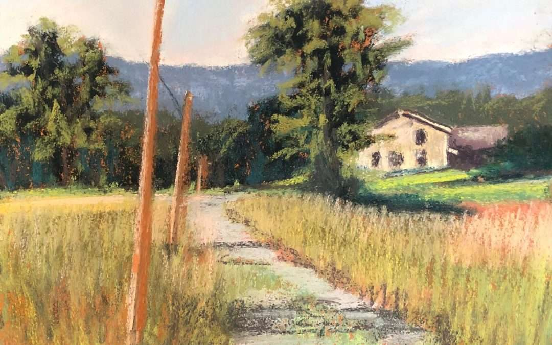 My family has lived in the Hudson Valley for almost 100 years. This view is the road from the corn field back to the family farm. When ever I go there I feel like home. Soft Pastel by Laura Martinez-Bianco