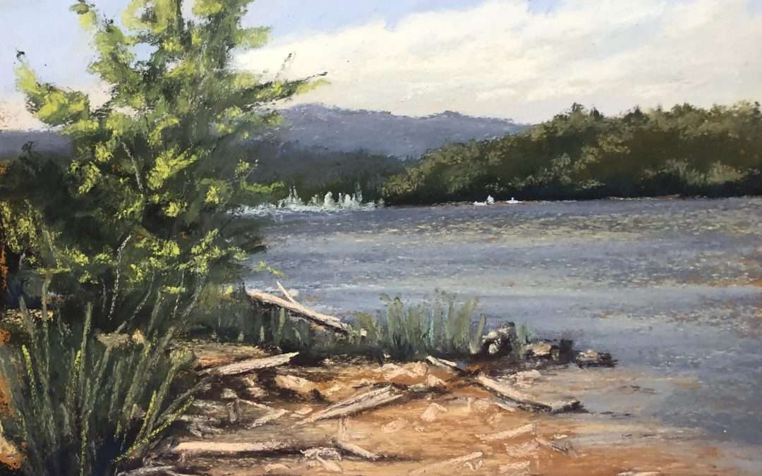 This spot on the west shore of the Hudson River about 25 miles north of New York City is as beautiful an quiet now as I believe it was when the Hudson River painters worked on the same shoreline. Soft Pastel by Laura Martinez-Bianco