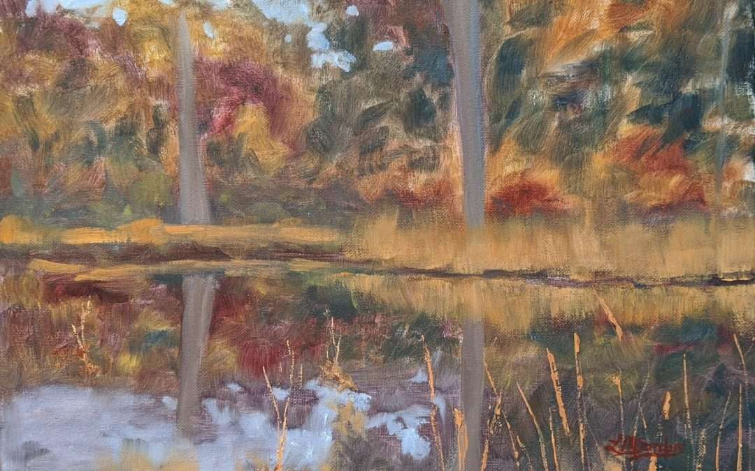 This was painted en plein air in October 2020 and it's the view of our backyard, Falls Brook which leads into Hamburg Cove in Lyme, CT. Oil by Lisa Sanders