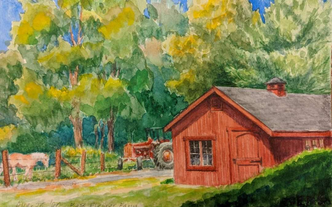 Red barn, tractor and horse Watercolor by Elizabeth Scott