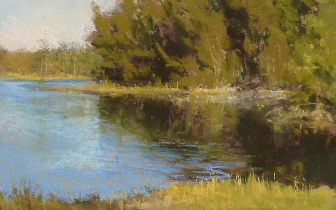 Evergreens reflected in a still pond in late afternoon sun Soft Pastel by Elizabeth Rhoades