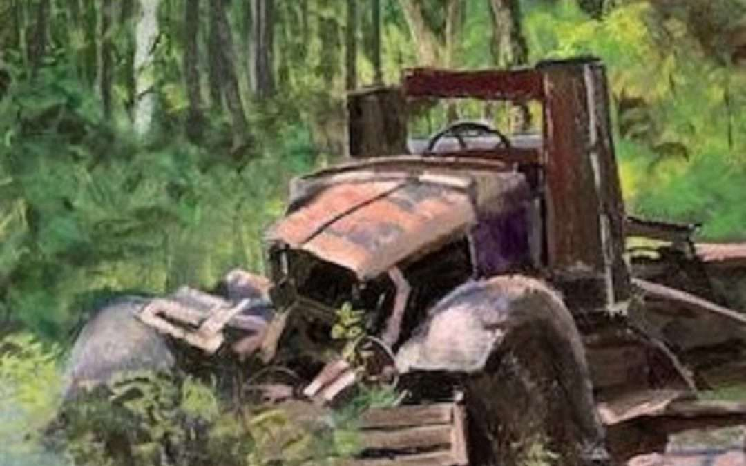 I found this old truck, melting into the ground in the hilltowns of Western Mass. I got a quick sketch and values and now I finally put it together. I love trying to save old barns and truck before they're swallowed up by the earth. Soft Pastel by Mary Montague