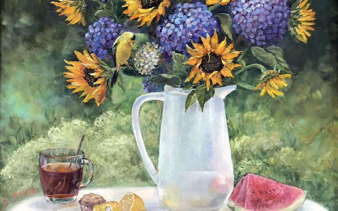 A vibrant large bouquet of sunflowers and hydrangea in a garden setting with tea, lemon, watermelon, and Goldfinch as an element of surprise. Painted en-plein-air. Oil On Panel by Svetlana Shorey