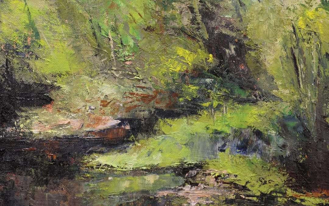 To get out of the sun, I stood under a bridge on Bushy Hill Road in Granby, CT to paint this little brook scene. Oil by Douglas Williams