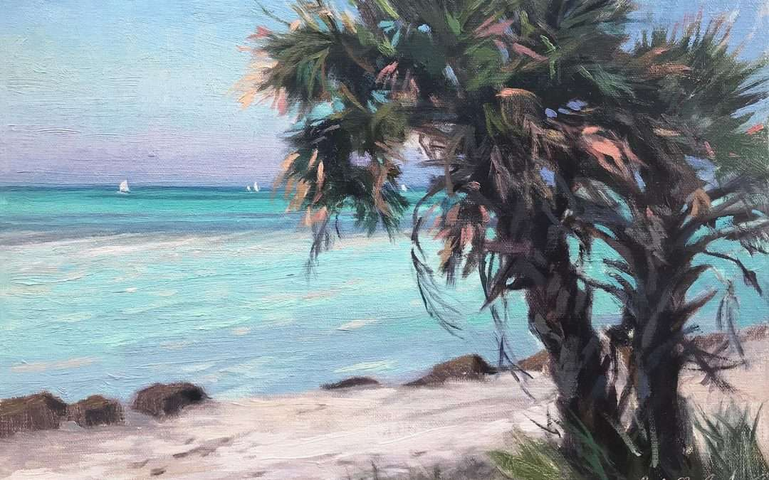 Palm trees sway in the breeze near a turquoise sea at Caspersan Beach, Florida. Oil by Jacqueline Jones