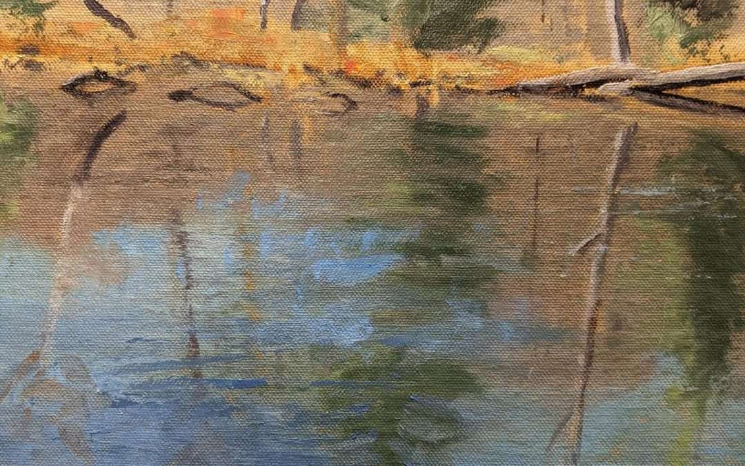 I converted a jogging stroller to carry my plein air gear. A short hike into Dismal Brook Wildlife Preserve leads to this quiet beaver pond. Oil by Douglas Williams