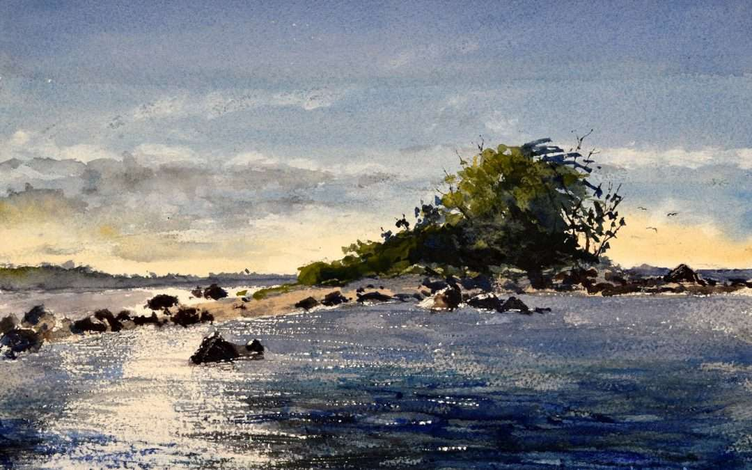 Plein Air painting done from my boat. Scene of Menunketesuck Island. Watercolor by Paul Loescher