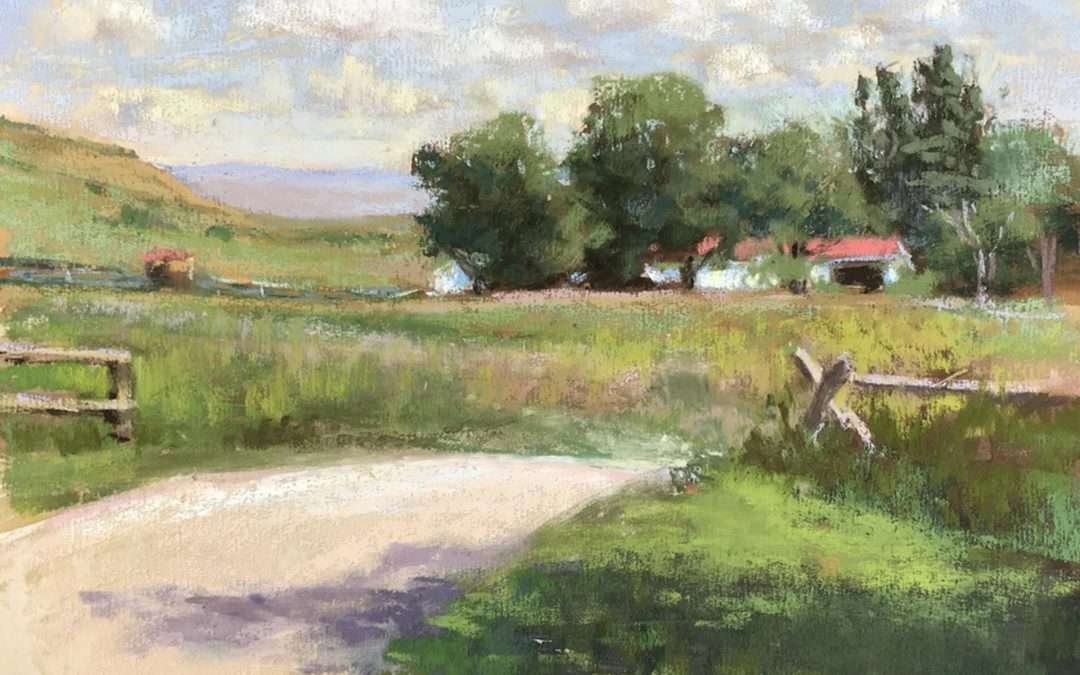 Expansive view of fields and a red roofed structure along a road Soft Pastel by Elizabeth Rhoades