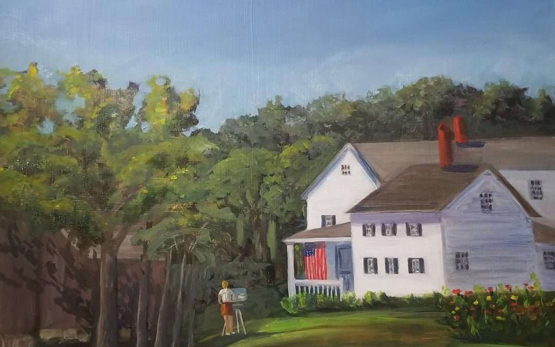 Artist painting a white farmhouse, in a wide black frame Oil by Hilary Griffin