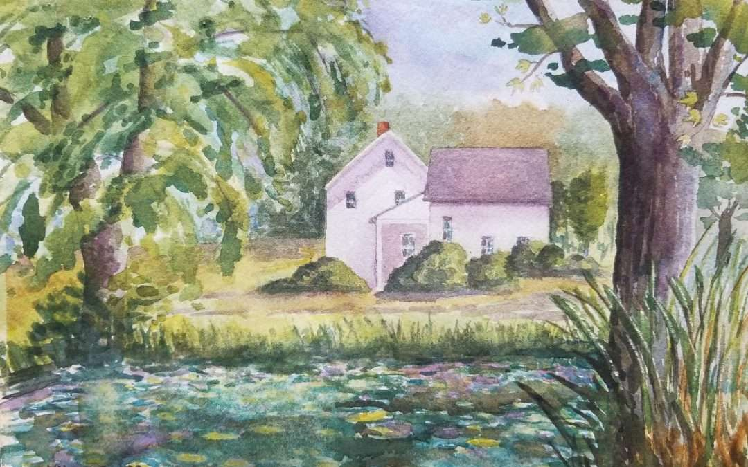 White farmhouse behind a pond in a white mat, thin gold frame Watercolor by Hilary Griffin