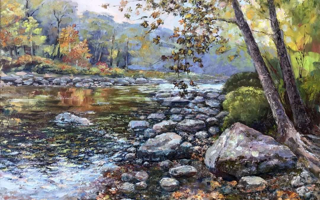 A typical New England landscape of the Farmington River with lots of rocks, Autumn foliage, water ripples, and reflections. Painted en-plein-air. Oil On Panel by Svetlana Shorey