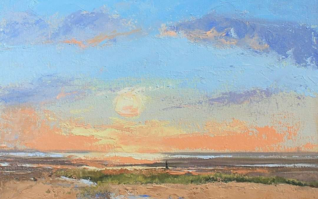 """A sunset on the beach in Eastham, MA, perhaps the way the Pilgrims may have """"encountered"""" it. Oil by Ellie Boyd"""