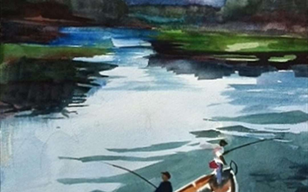 2 guys fishing in an open boat  by Claudia Van Nes