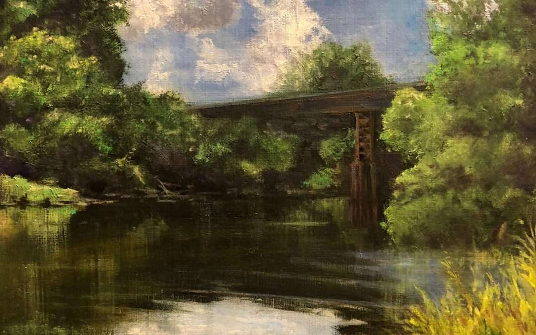 Quiet moment on the Salmon Brook as it flows under the old rail bridge. Oil On Linen by George Mattingly