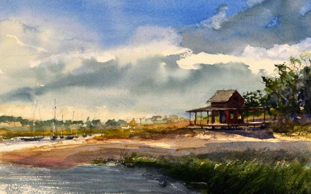 Scene Of an abandoned house on Grass Island Guilford Harbor Watercolor by Paul Loescher