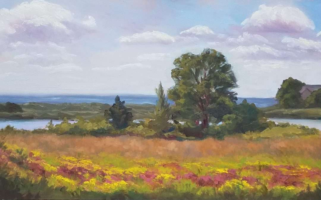Plein air oil painting of a view at Harkness Park in Waterford Connecticut. The goal was to capture wild flowers in the foreground that lead back to an atmospheric view. Painted on wood sided gator board. Oil by Jeanne Obrien