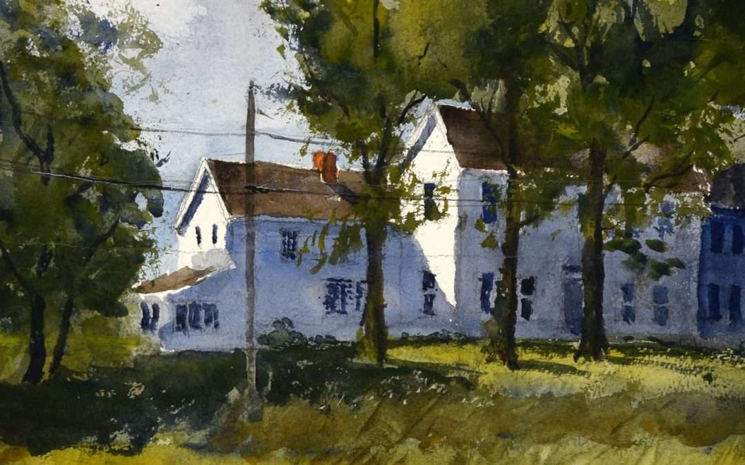 White colonial house in a setting of trees marsh and river. Watercolor by Paul Loescher