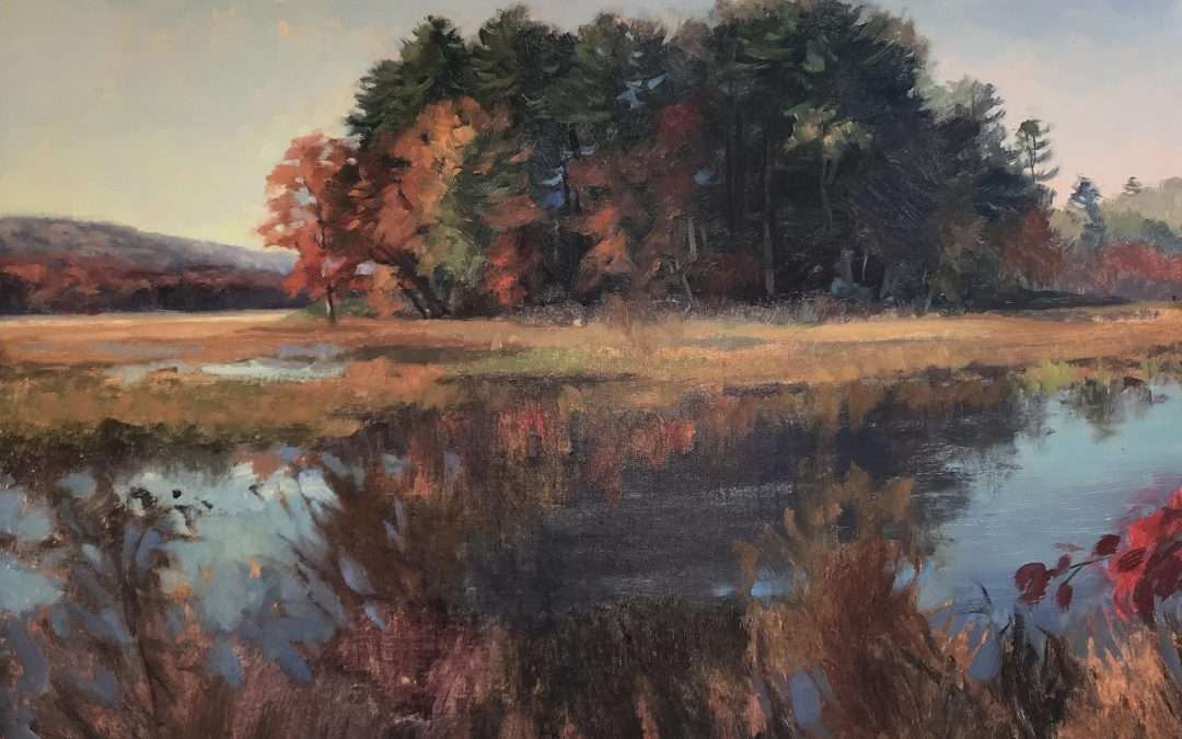 An autumn view of an island in the marshes of Bashakill in the Hudson Valley.  by Jacqueline Jones