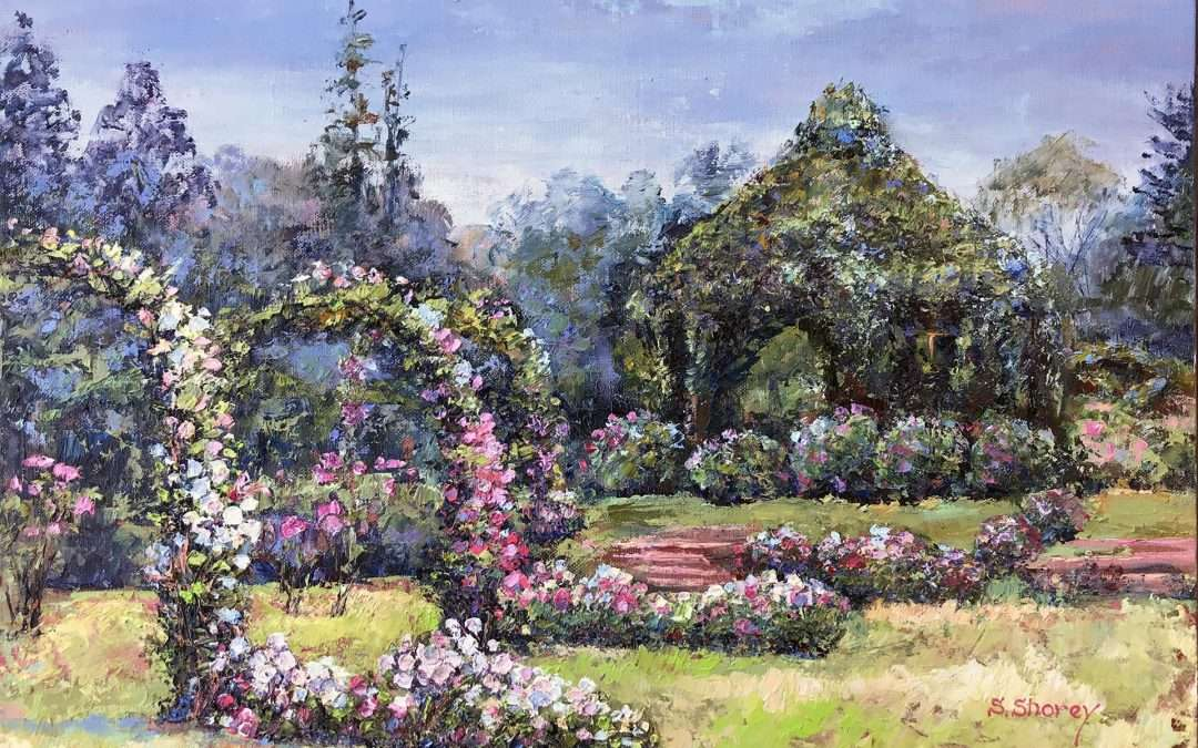 A view of Connecticut's well-known Elizabeth Park Rose Garden and green gazebo. Painted en-plein-air in an impasto technique with elevated strokes and vivid colors. Oil On Panel by Svetlana Shorey