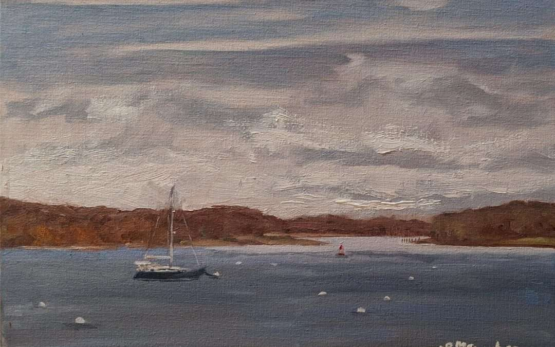 This was painted en plein air in November 2020 at the CT River Museum dock looking out at one of the last boats in the water this time of year. Oil by Lisa Sanders