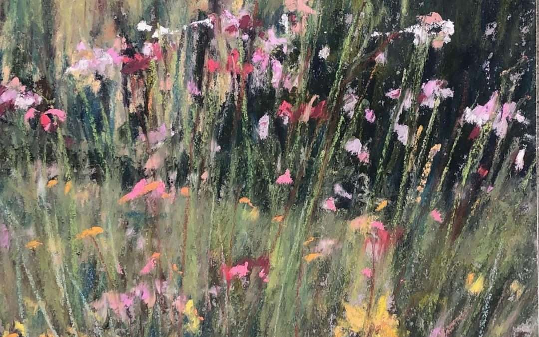 Just before the first frost I painted my flower garden. All summer I think about painting the flowers in my own garden but never find the right time. This bright fall day turned out to bt he right time. Soft Pastel by Laura Martinez-Bianco
