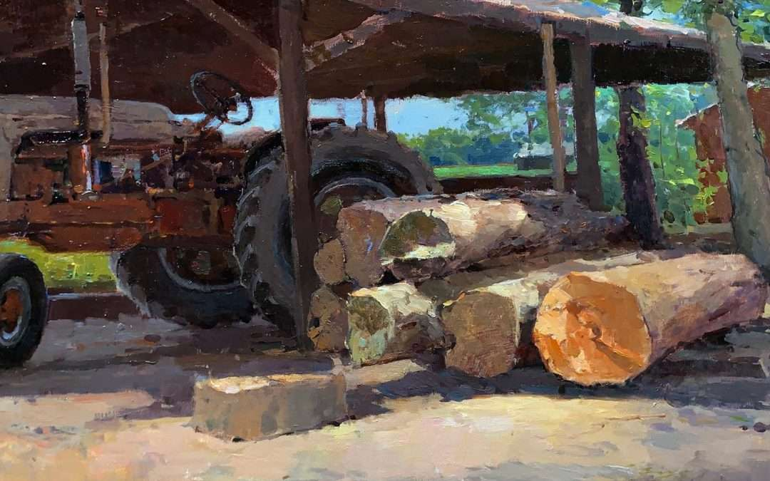 Tractor and sun-lit logs. Painted in Easton, MD. Oil by Zufar Bikbov