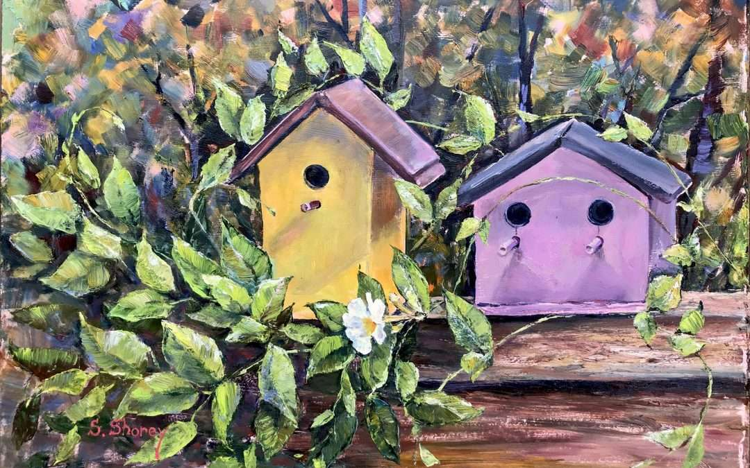 Two colorful birdhouses dressed in the Gardenia vines on the Fall background abstraction. Painted en-plein-air. Oil On Panel by Svetlana Shorey