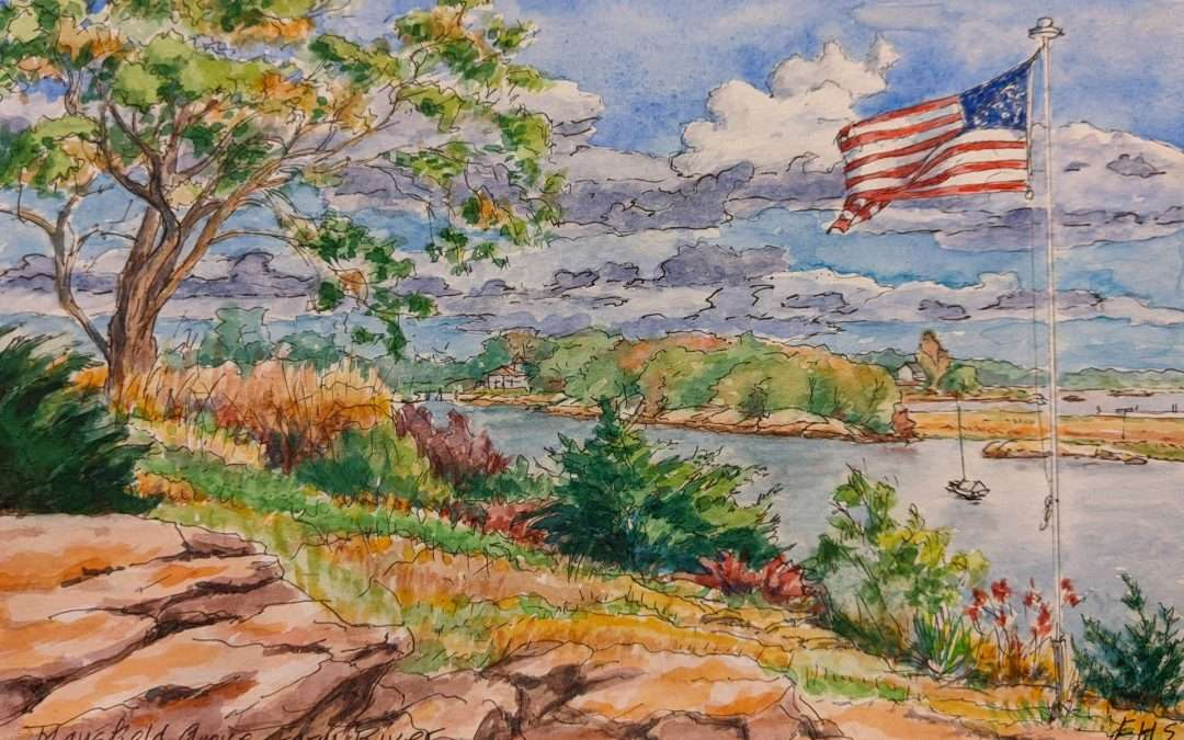 view down to river with large tree on left, flag pole on right, ledge rock in foreground Watercolor by Elizabeth Scott