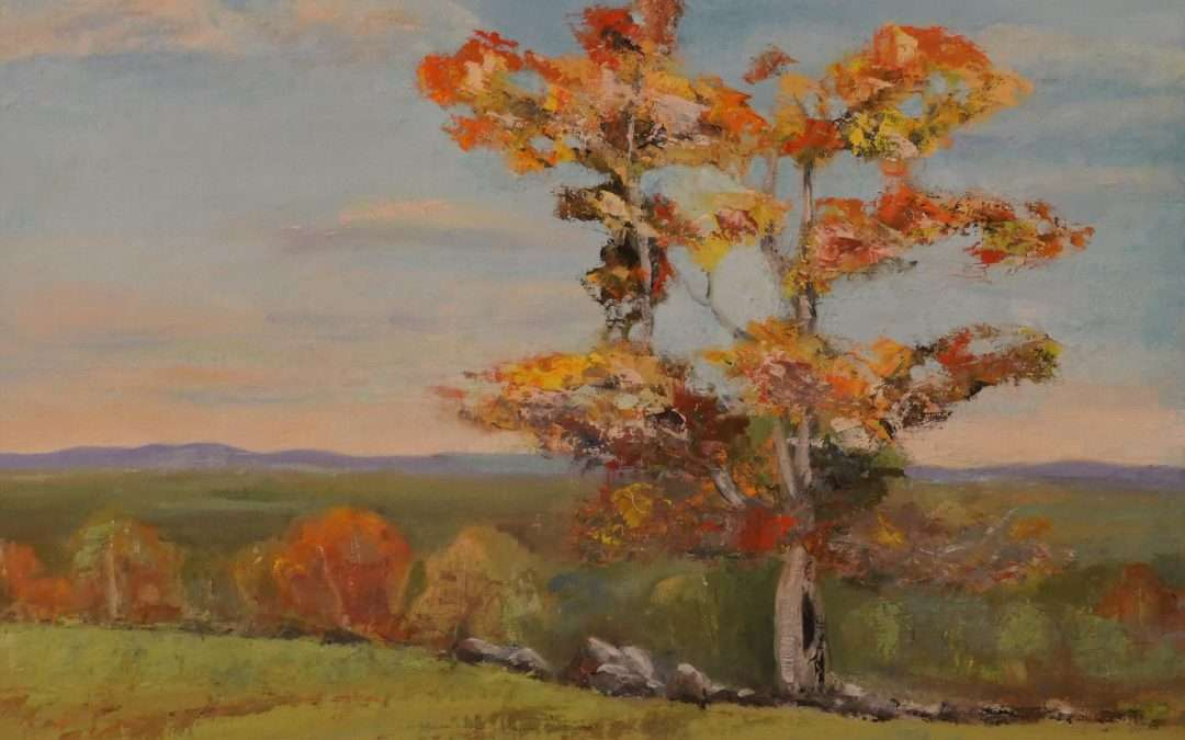 Property off Mountain Road in North Granby, CT is part of the Granby Land Trust and has a view to the north into Massachusetts. Oil by Douglas Williams
