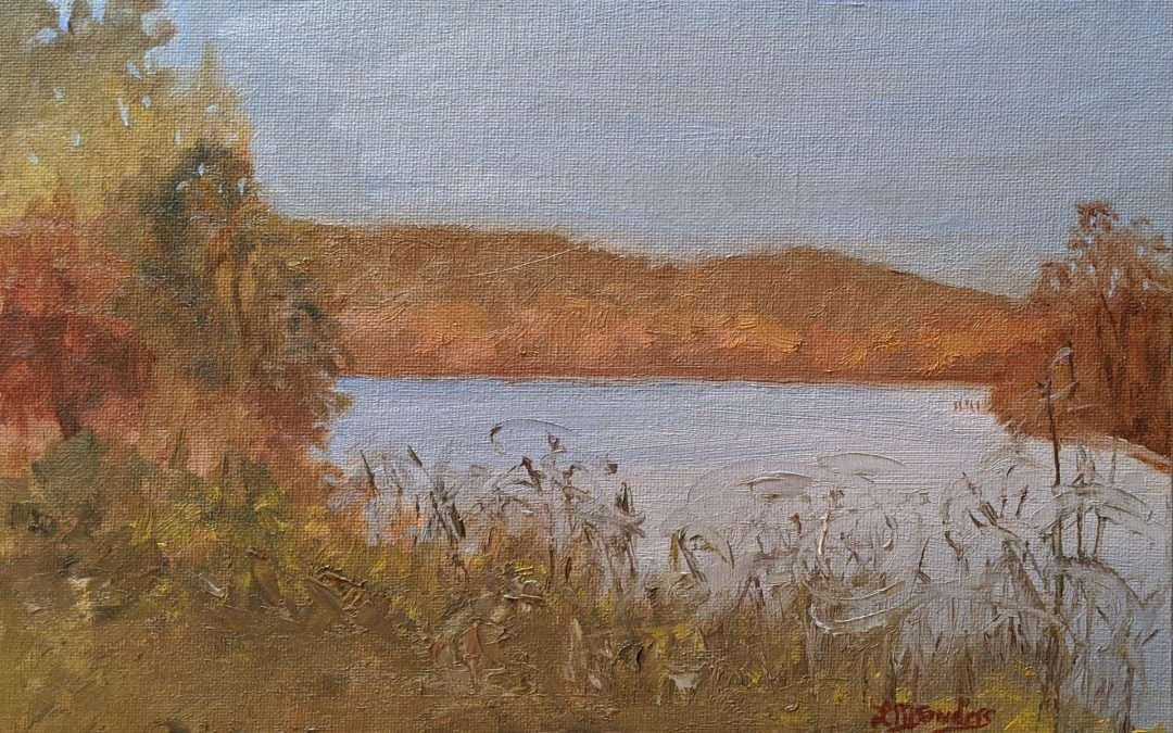 This was painted en plein air in November 2020 at the Hadlyme Ferry Boatlaunch at Gillette Castle State Park. Oil by Lisa Sanders