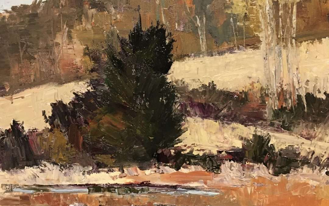Plein air painting, afternoon, view of hill at Stonington Meadows, October 19, 2020 Oil by Lisa Miceli
