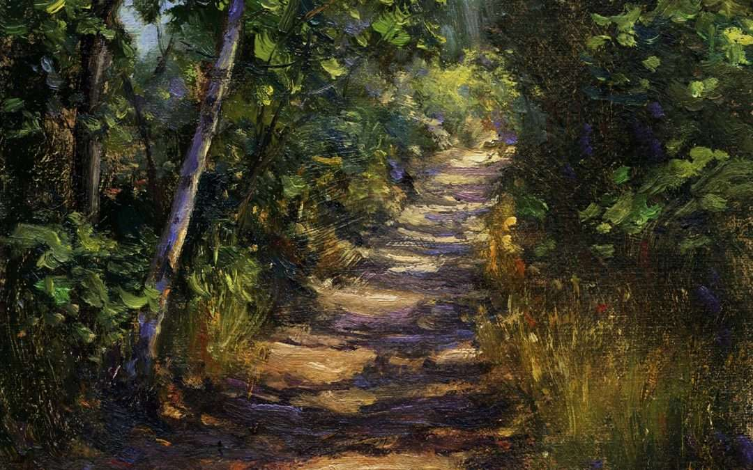 Sun streaming through the surrounding trees creates sunspots and shadows on our usual walk near the beach in Fairfield, CT Oil by Tony Damico