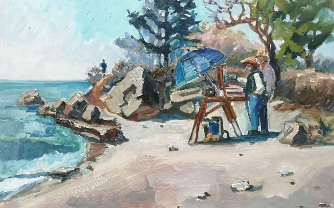 Two painters at work at Hammonasset Beach Oil by Blanche Serban