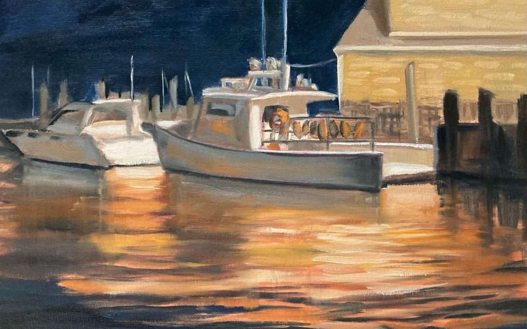 nocturne with lobster boat and lobster snack Oil by Linda Marino