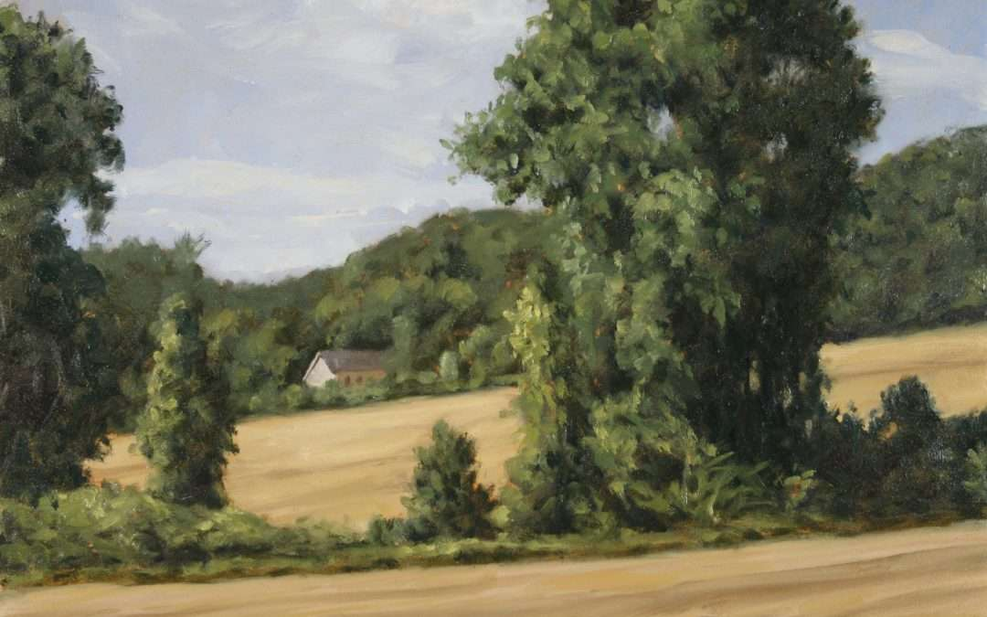 Farm field with line of trees, white house in distance. Oil by Doug Andersen