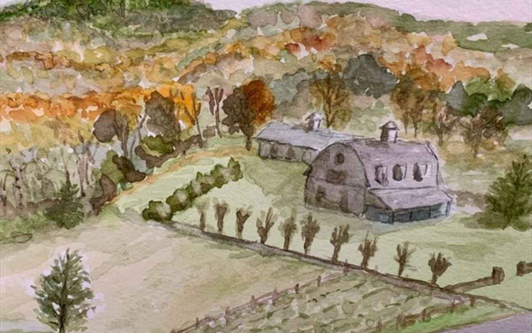 Sitting atop the hill among the apple trees, looking down on the beautiful fall foliage sans parking lot. Watercolor by Martha Lord