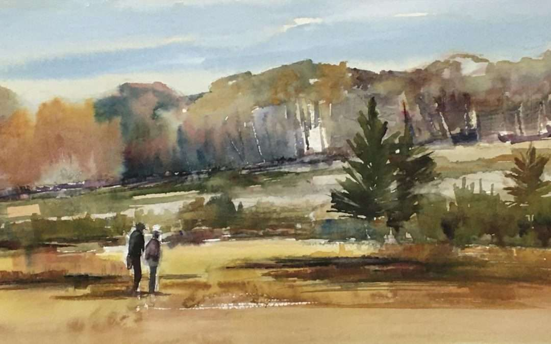 Plein air painting, early afternoon, view behind Meadows at Stonington, October 15,2020 Watercolor by Lisa Miceli