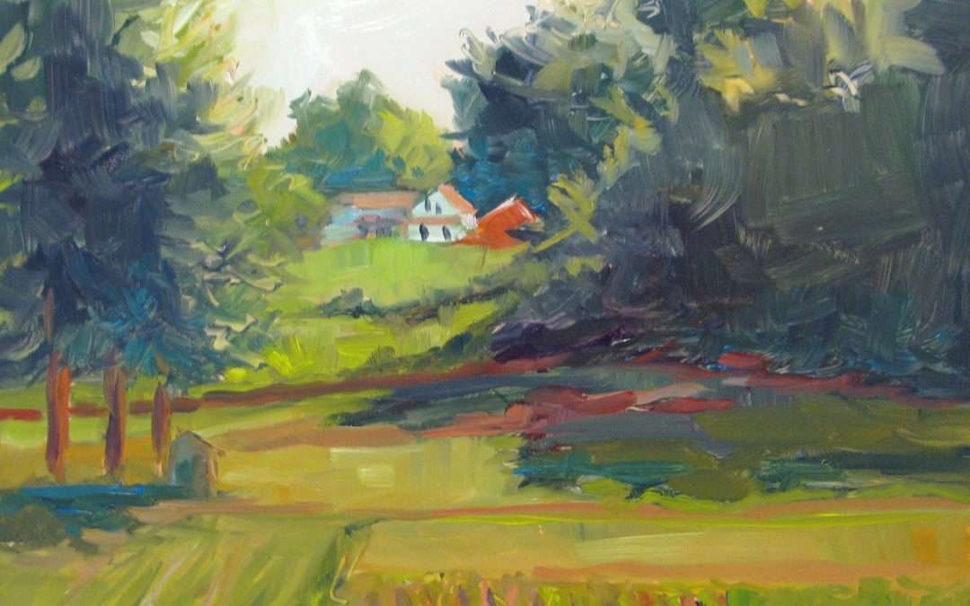 Plein Air, Old Lyme location Oil On Aluminum by Judith Meyers