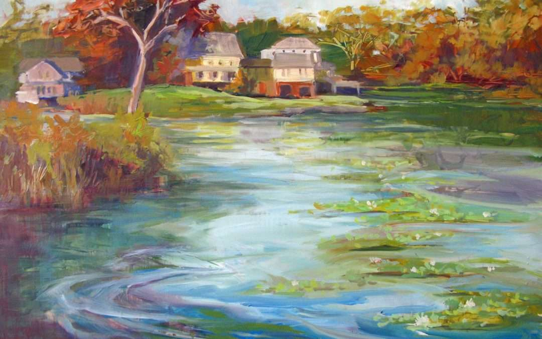 Plein Air Giant's Neck, Niantic, CT Oil On Board by Judith Meyers