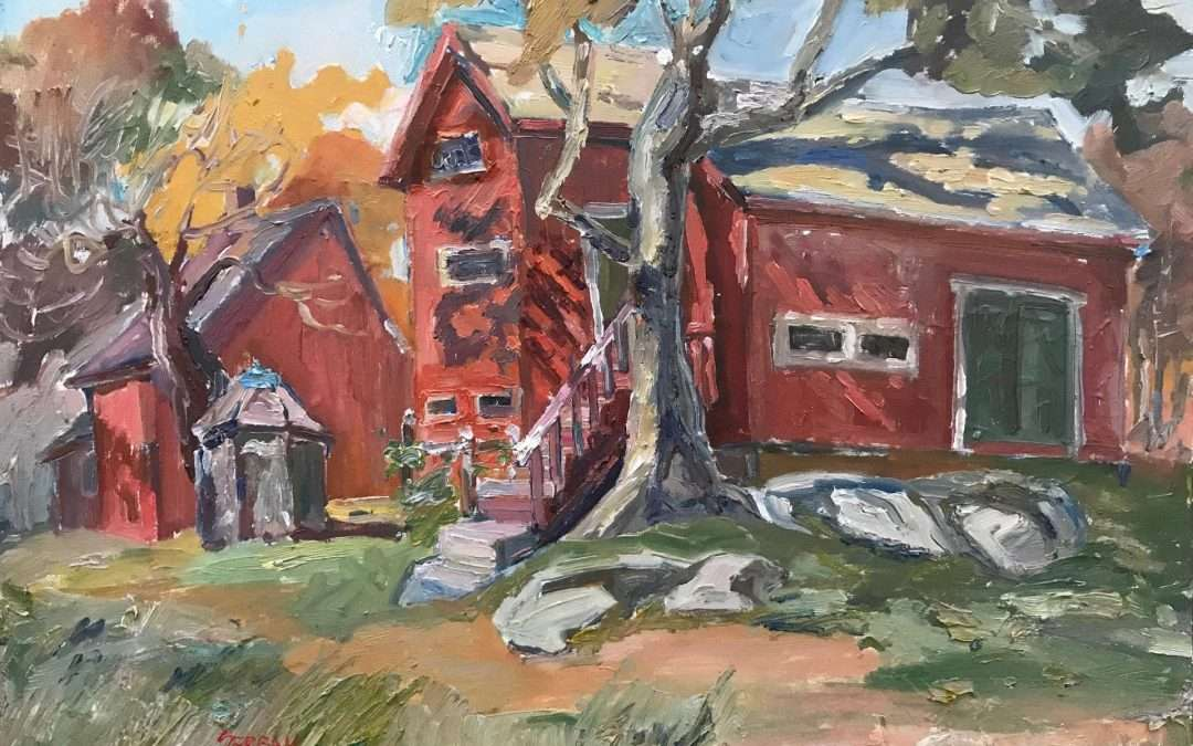 Two red barns used as painting studios by J Alden Weir Oil by Blanche Serban