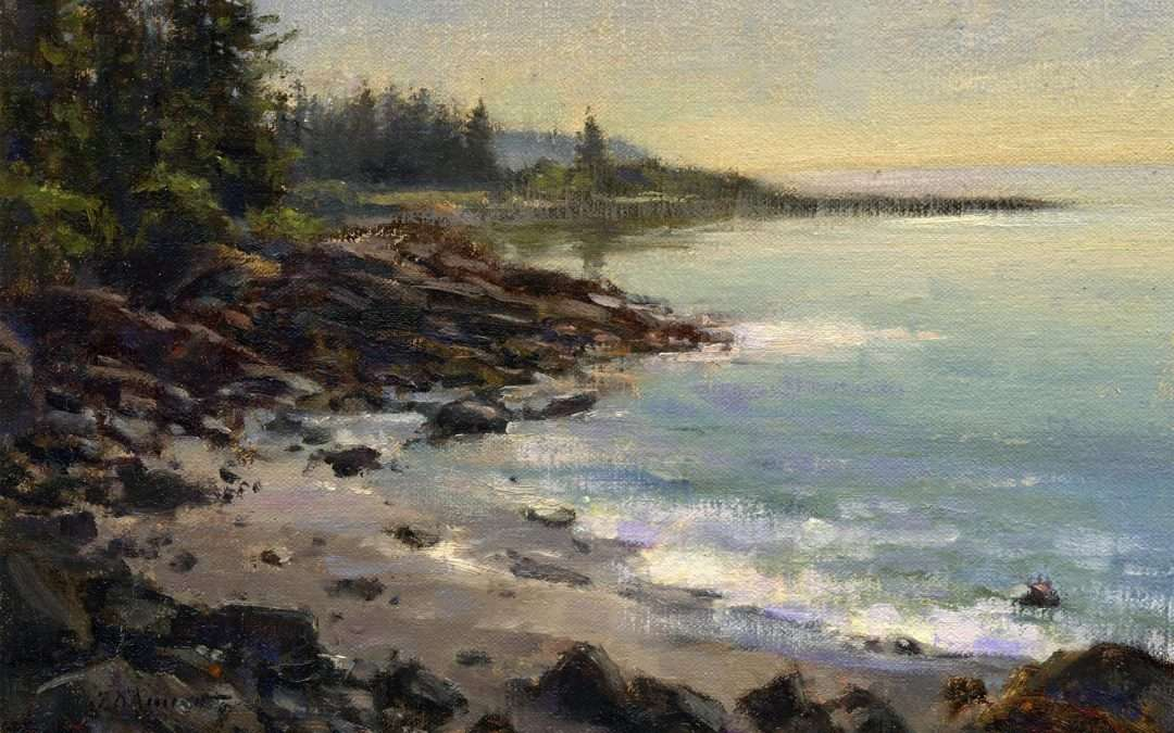 Just after sunrise, it is a calm morning at Drift Inn Beach in Port Clyde, Maine Oil by Tony Damico
