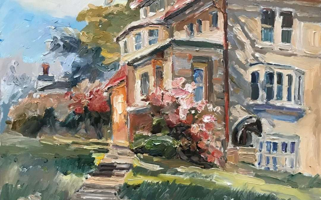 Sunny walkway going to a traditional New England Residency, the old wing of the NBMA Oil by Blanche Serban