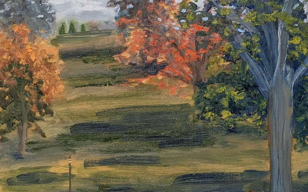 This was painted en plein air in October 2020 looking at the Walnut Hill Park from the view of the New Britain Museum of Art. Oil by Lisa Sanders