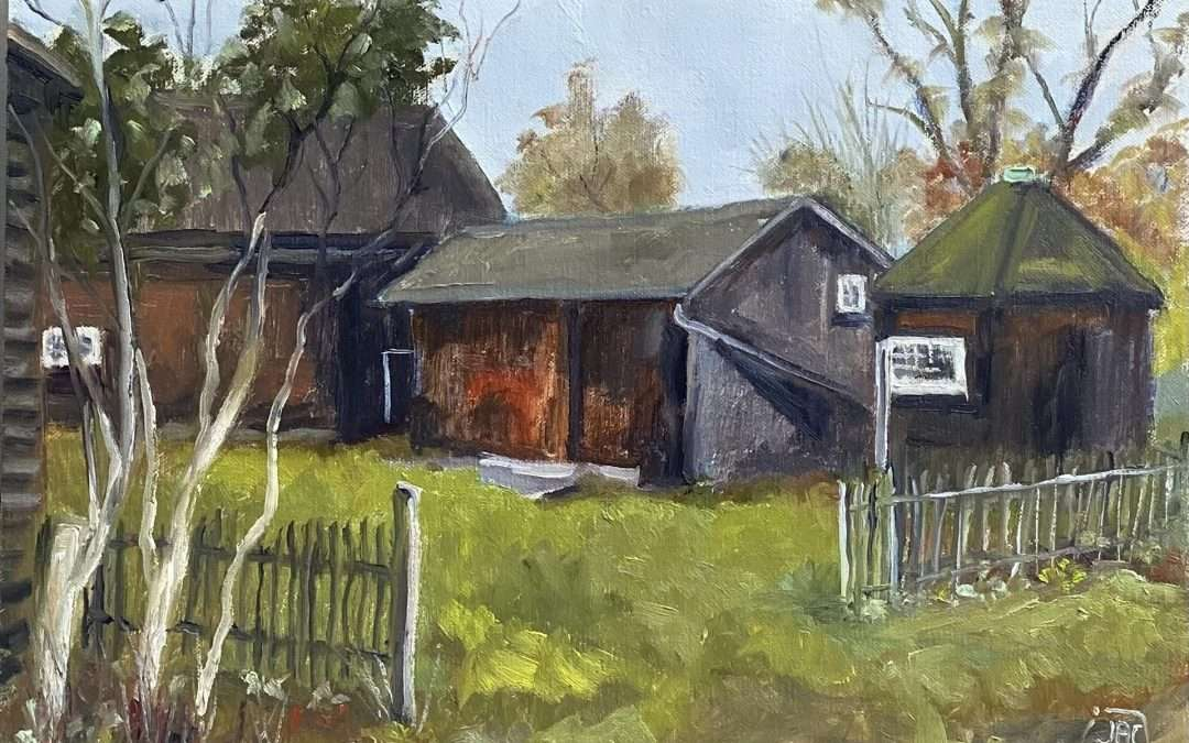 The barn at Alden Weir Farm in Wilton CT Oil by Jean-Pierre Jacquet